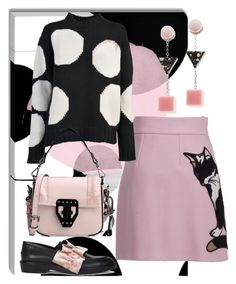 """""""Hello Kitty"""" by easy-dressing ❤ liked on Polyvore featuring MSGM, Eshvi, WhatToWear, pinkandblack and polyvoreeditorial"""