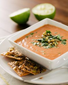 Simple Indian-Spiced Tomato Soup with Lime | A Couple Cooks - with canned tomatoes, cardamom, cumin, cayenne, onion, garlic, yogurt, lime