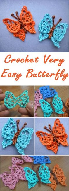 Crochet very easy butterfly step by step