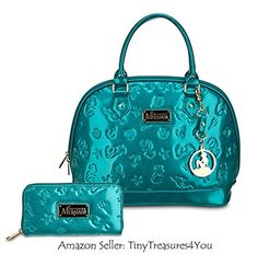 """Disney Store ARIEL Tote """"The Little Mermaid"""" Bowler HAND BAG Purse & Wallet Set by Loungefly"""