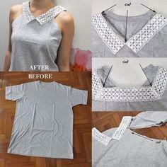 En partant d'un tee shirt basique, réalisez un joli top avec dentelle. Si vous avez un t shirt surdimensionné perdu dans le fond de votre placard et que vous ne savez pas quoi en faire, c'est le moment de le ressortir. Ce projet de mode est génial, vous pouvez créer un petit haut avec très peu de matériel et un peu de votre temps. Création du haut en dentelle – …