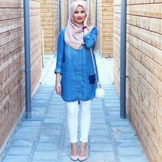 chambray shirt white trousers outfit