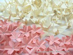 Sakura Origami & Acessórios: Tsuru marfim, sakura rosa claro