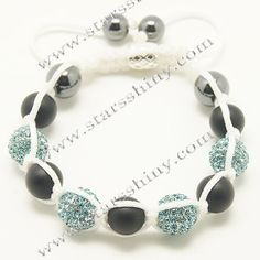 10mm round alloy blue rhinestone & agate beads adjustable shamballa bracelet wholesale    Material: alloy, rhinestone beads, agate beads    Wear Length: from 7 to 10 inches