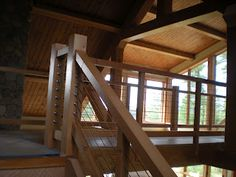 douglas fir and cable railing stairs timber frame http://huismanconcepts.com/