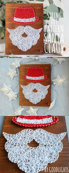 Christmas DIY string art pattern Santa Claus.