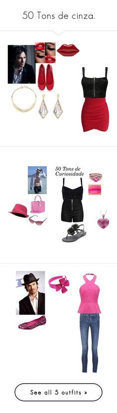 """50 Tons de cinza."" by julianasome ❤ liked on Polyvore featuring Pluma, Azzaro, Chicwish, Lulu Guinness, Francesco Milano, She Adorns, Dolce&Gabbana, Love Moschino, Versace and Melissa"