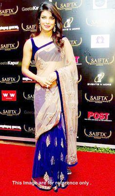 Priyanka Chopra In Blue and Cream Net Bollywood Designer saree Bollywood Sarees Online, Bollywood Designer Sarees, Cool Outfits, Fashion Outfits, Net Saree, Priyanka Chopra, Indian Sarees, Traditional Dresses, Indian Fashion