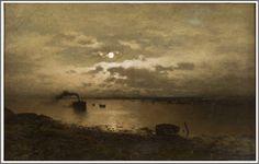 Axel Nordgren (1828-1888), Paysage au Clair de Lune - 1884. Alfred Stevens, Albert Bierstadt, Arthur Rackham, Ansel Adams, Landscape Paintings, Landscapes, Celestial, Moonlight Painting, Beautiful