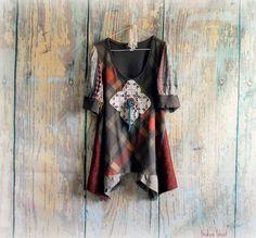 Brown Rustic Shirt Shabby Style Tunic Boho by BrokenGhostClothing