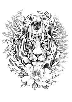 Zeichnung / Tattooskizze / Wannado / Tiger Blackwork mit Tigerschädel, Blumen und Farn Art Drawings Sketches, Tattoo Sketches, Animal Drawings, Tattoo Drawings, Badass Tattoos, Body Art Tattoos, Sleeve Tattoos, Leaf Tattoos, Tattoos For Guys