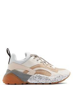Stella Mccartney Eclypse Chunky-sole Faux-leather Trainers In White Multi Chunky Shoes, Dad Sneakers, Rubber Shoes, Leather Trainers, Athletic Fashion, Designer Shoes, Luxury Designer, Shoe Game, Stella Mccartney