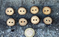 Tiny Wood Buttons  8 small Black Jack tree by forestinspiration, $9.00