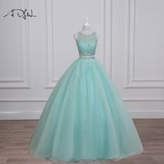 ADLN Real Photo Mint Green Quinceanera Dresses 2017 Gorgeous Beaded Sequin Crystal Two Piece Prom Dress