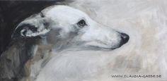 Whippet, Acrylic on canvas, 30 x 60 cm, Claudia Gaede