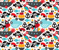 Pirate ship and parrot fabric by littlesmilemakers on Spoonflower - custom fabric - wallpaper and wrapping paper and some DIY inspiration by Maaike Boot