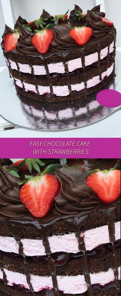 An easy chocolate recipe with strawberries. You never wished more ! Try it and taste it !   #dessert #cake #sweets #cook #chocolate #strawberries