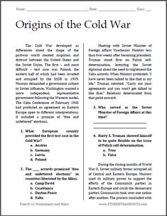 Printables High School Reading Comprehension Worksheets Pdf industrial activities and student on pinterest origins of the cold war free printable reading with questions pdf file for
