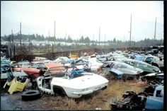 junkyard - A sad sight indeed. Corvette C2, Chevrolet Corvette, Wrecking Yards, Rusty Cars, Abandoned Cars, Sweet Cars, Barn Finds, Vintage Cars, Cool Cars