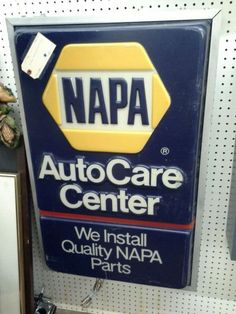$350 - This vintage NAPA Auto Care Center  wall hanging and electric sign. Bright blue and yellow colors make it an attractive display. The sign measures 24 inches by 36 inches. This sign can be seen in booth F20 at Main Street Antique Mall 7260 East Main St ( E of Power Rd ) Mesa 85207  480 9241122open 7 days 10 till 530 Cash or charge 30 day layaway also available