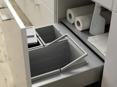 Pull out Trash, recycling and cleaning storage