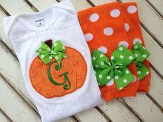 Baby Girl Pumpkin Outfit Pretty Little by DarlingLittleBowShop