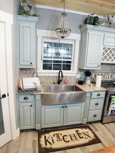 Farmhouse Kitchen, Farmhouse Sink, Kitchen Chandelier, Antique Stained  Glass Kitchen, French Country