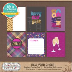New Year Cheer Cards - It's Free! : Peppermint Creative, Digital Scrapbook Supplies
