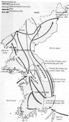 1950 a 1953 - Resumen de la Guerra de Corea - Guerra Fria:Conflicto en Corea -