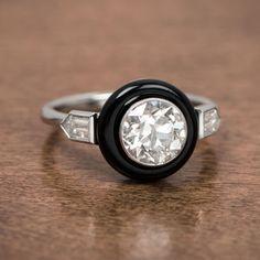 Art Deco Style Onyx and Diamond Engagement by EstateDiamondJewelry