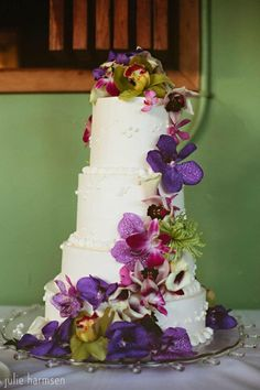 laua wedding flowers | Kauai wedding cake more than cascading tropical flowers bridal wedding ...