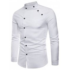 New fashion male autumn High-grade pure cotton slim Fit Business shirts/men Stand collar Casual long sleeve shirts Fashion Male, Nigerian Men Fashion, Indian Men Fashion, Mens Fashion Wear, Big Men Fashion, Fashion Menswear, Fashion Ideas, African Shirts For Men, African Clothing For Men