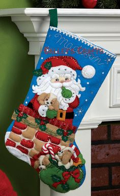 2011 PATTERN  Bucilla ~ Santas Secret ~ 18 Christmas Stocking Kit #86280.  This is just one of the 5 new felt stocking kit patterns that Bucilla has released for Fall 2011. If you would like to see the other 4 new kits please check my other listings.  Santa is about to go down the