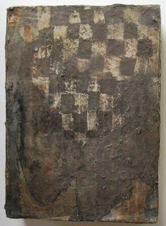 墨色の市松1 225x165mm mixed-media on wood panel