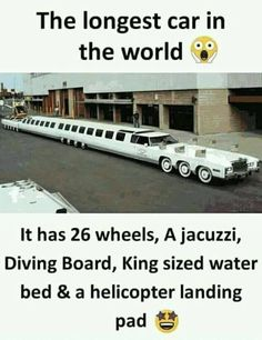 The longest car True Interesting Facts, Some Amazing Facts, Interesting Facts About World, Intresting Facts, Unbelievable Facts, Awesome Facts, Interesting Stuff, Wierd Facts, Wow Facts