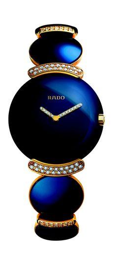Rado Blue Fascination Jubilé timekeeper, 18K gold bracelet, 206 diamonds, scratch-resistant sapphire crystal face