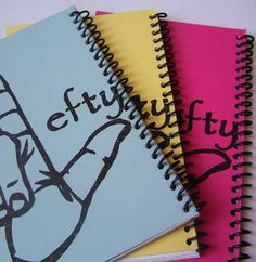 Lefty Journals - notebooks for left handed writers (solution to major problem) I NEED this! Left Handed Problems, Left Handed Facts, Left Handed People, Journal Notebook, In This World, Nerdy, Paper Crafts, Notebooks, Journals