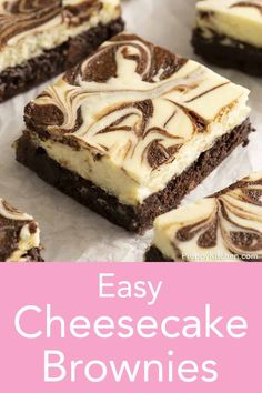 These delicious cheesecake brownies have a rich, fudgy chocolate base and a light, perfectly sweet cheesecake topping swirled with chocolate. Köstliche Desserts, Chocolate Desserts, Delicious Desserts, Dessert Recipes, Cheesecake Toppings, Easy Cheesecake Recipes, Cheesecake Strawberries, Baking Recipes, Cookie Recipes