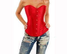 Red Burlesque corset red satin lingerie by MayaDesignFinland