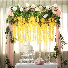 Sweet and delicate wisteria vine silk flowers will easily make eye-catching extra full floral centerpieces! Wisteria's delicate, draping down flowers will liven up floor vases, centerpieces or any room decor. Diy Wedding Flowers, Wedding Flower Arrangements, Floral Centerpieces, Floral Wedding, Yellow Wedding, Wedding Bouquet, Rainbow Wedding, Floral Arrangements, Wedding Ideas