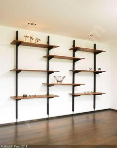 Wall Mounted Shelf Option Can Make It Very Industrial To Balance Incredible Cremaillere Noire Pour Etagere Bookcase Shelves, Wall Mounted Shelves, Wood Shelves, Shelving, Etagere Design, Dressing Room Closet, Living Room Shelves, House Plants Decor, Room Color Schemes