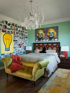Eclectic Bedroom Ideas for Women Used Green Wall and Wooden Flooring Combined with Yellow Leather Classic Sofa Furniture Shabby Chic Bedrooms, Bedroom Design Inspiration, Funky Bedroom, Woman Bedroom, Bedroom Decor, Eclectic Bedroom, Eclectic Home, Girls Room Decor, Room Decor
