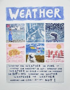 Weather: collaborative printmaking by Hilary Soper and Ysabel Winzar for the Whatever the Weather exhibition at Harbour House, September 2015