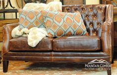 leather loveseat with amazing pillows and fur throw, Mountain Comfort Furnishings, Mountain Style