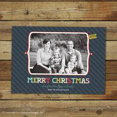 Bright modern Christmas card photo card  2013  by saralukecreative