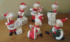 Vintage Set of Six Napco Christmas Santa Pixie Elves Figurines -Series AX981