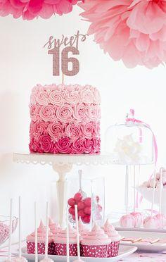 Sweet 16 Sixteenth Birthday Glitter Cake by hazelpapercompany