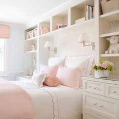 girls room design with pink and white bedding, scallop bedding and wallpaper with sconces by girl bed, girl nightstand decor and bookshelves in teen girl bedroom Big Girl Bedrooms, Little Girl Rooms, Light Pink Girls Bedroom, Modern Girls Rooms, Pink Bedrooms, Bedroom Girls, Home Bedroom, Bedroom Decor, Peaceful Bedroom
