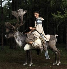 This Mongolian reindeer rider was photographed by D. G. Ganba.  #Mongolia #Mongolian #Altaic #Turan