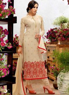 Beige Embroidery Booti Work Georgette Designer Long Fancy Churidar Suit http://www.angelnx.com/Salwar-Kameez/Churidar-Suits